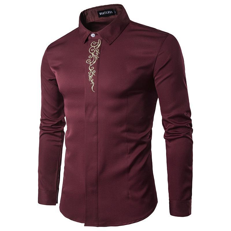 2020 neues Designer-Marken-Männer Langarm-Shirt bestickt männliche Hemd Freizeit loses Hemd der Männer