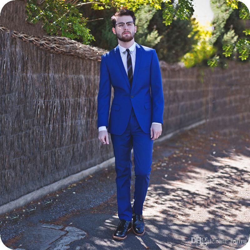 Custom Made Royal Blue Groom Tuxedo Men Suits for Wedding Shawl Lapel One Button Man Blazer 2Piece Slim Fit Terno Masculino(jacket+pant)