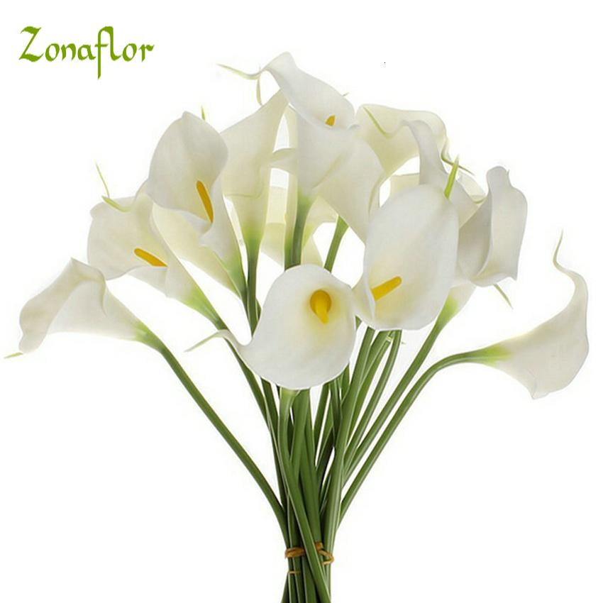 Zonaflor 20pcs/lot Decorative Flowers Calla Lily Artificial Flower PU Real Touch Home Decoration Party Wedding Bouquet Flowers SH190920