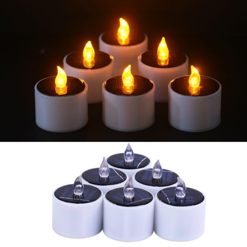 6 Pezzi / Lotto giallo Flicker LED luce solare di energia solare LED candele senza fiamma elettronico Nightlight solare energetico a candela