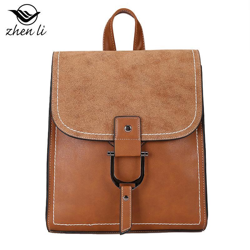 2019 new PU leather retro fashion generous hasp backpack