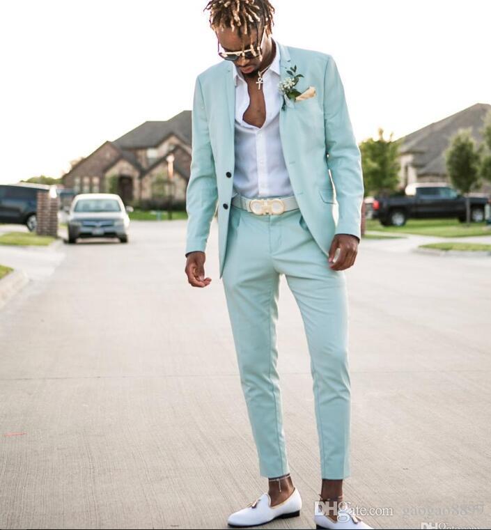 Mint Green Mens Abiti Slim Fit Due Pezzi Beach Groomsmen Smoking da smoking per uomo con risvolto Risvolto formale Prom Suit (Jacket + Pants)