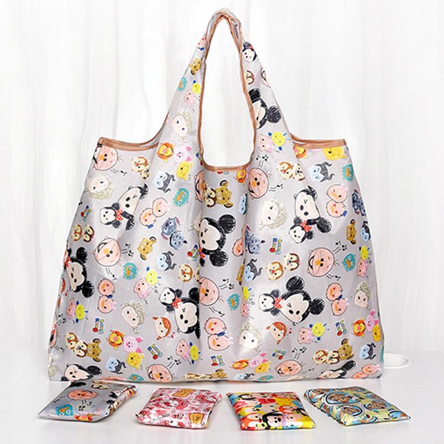 58*65cm Folding Cute Cartoon Shopping Bags Eco-friendly Printing Polyester Lightweight Handbags Reusable Portable Shopping Bags DH1039 T03