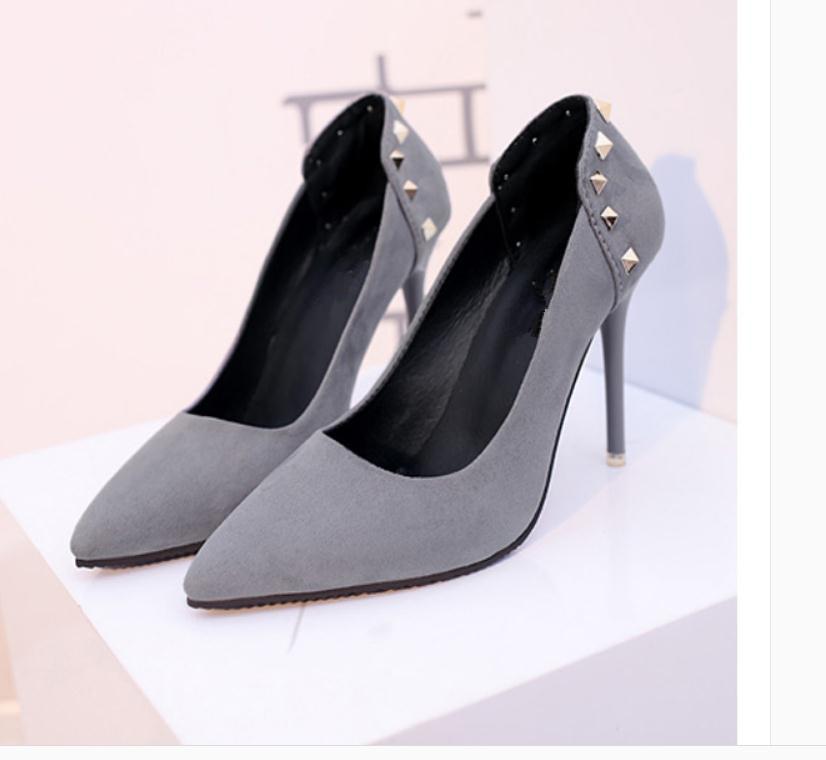 2020 весной и осенью с обувью Новый стиль моды Высокий каблук прекрасный пятки заостренный конец Suede женщин в @ MQWBH755