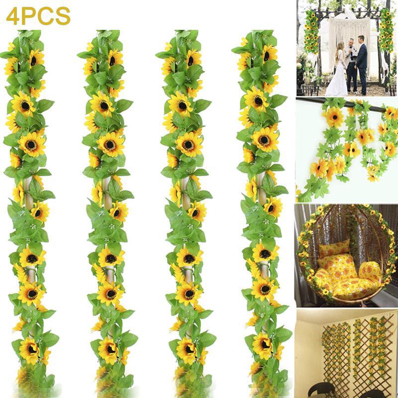 4x 3 Heads Long Stem Rose w Leaves Silk Artificial  FlowersRose Home Décor