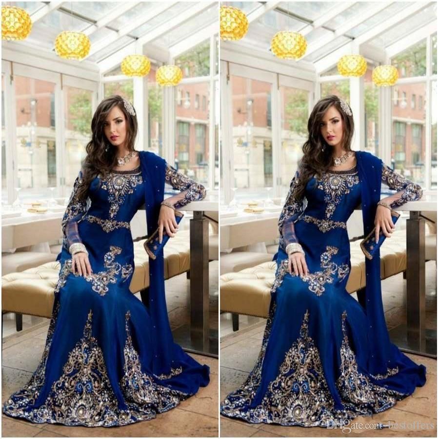 2019 Modest Royal Blue Luxury cristallo musulmano arabo abiti da sera con pizzo applique Abaya Dubai caftano lungo convenzionale abiti da ballo di promenade