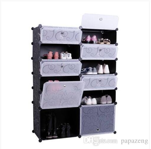 Envío gratis ventas al por mayor 12 x almacenamiento en casa simple de plástico de múltiples capas de zapatos de rack de compartimiento de gabinete de zapatos