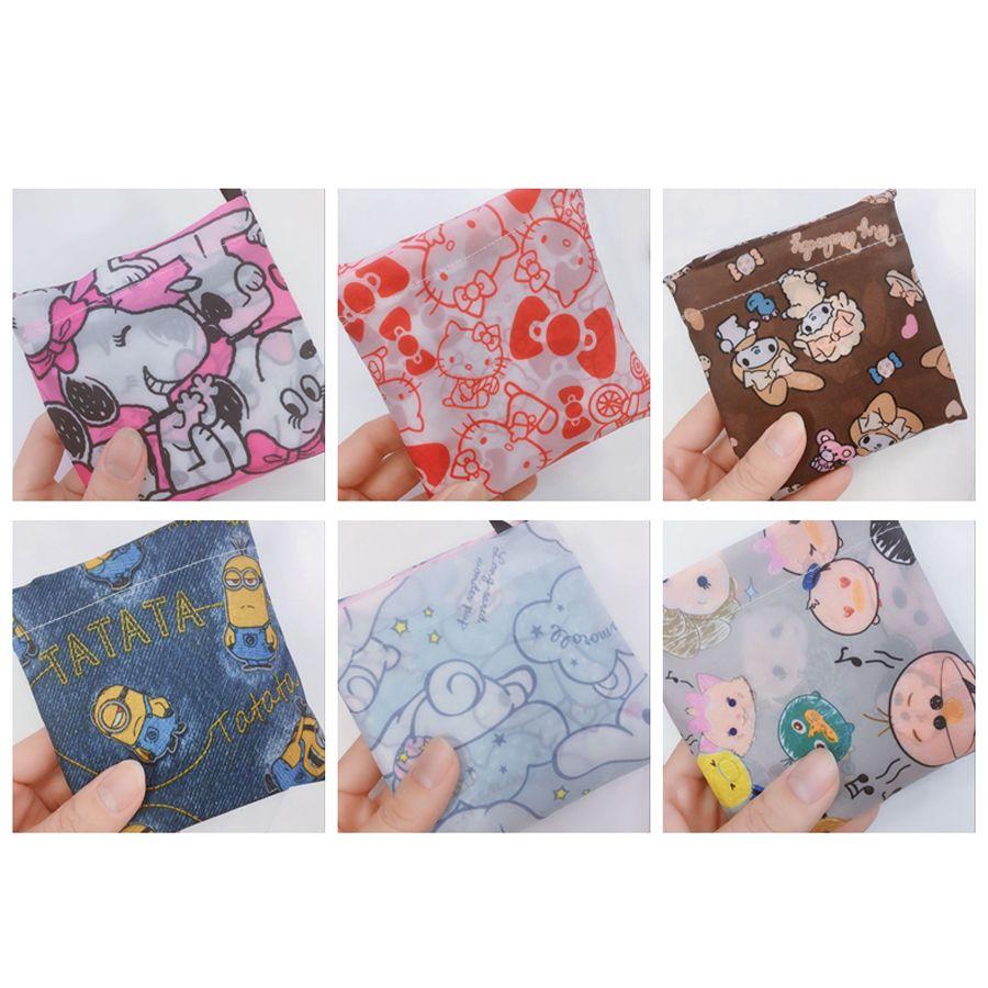 Leichte, tragbare 40 * 60cm Folding Einkaufstasche Nette Karikatur-Printing Umweltfreundlich Polyester Handtaschen wiederverwendbare Einkaufstaschen DH1038 T03