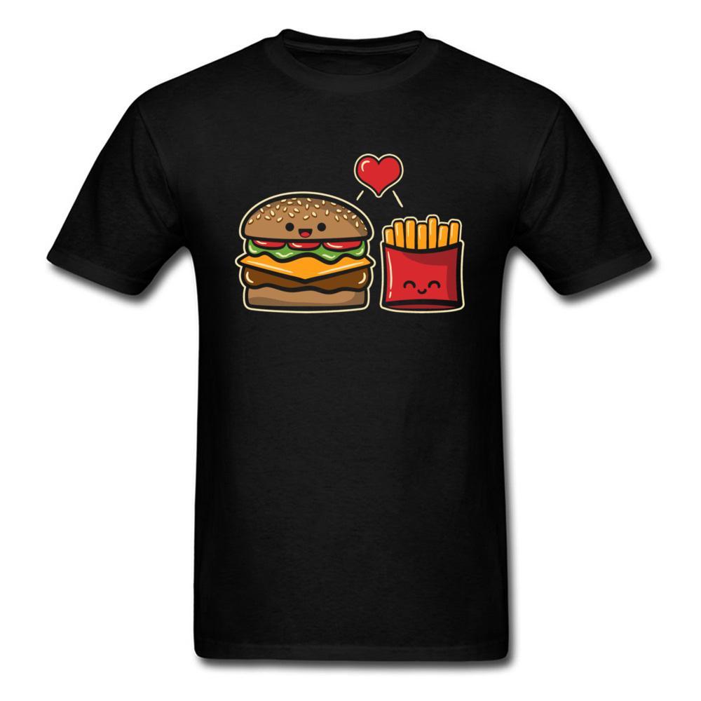 Burger Ve Patates T-shirt Erkekler Siyah Tişört Pamuk Kumaş Giyim Arkadaşlar Komik Karikatür Giyim Erkek Arkadaşı Hediye Tee Tops
