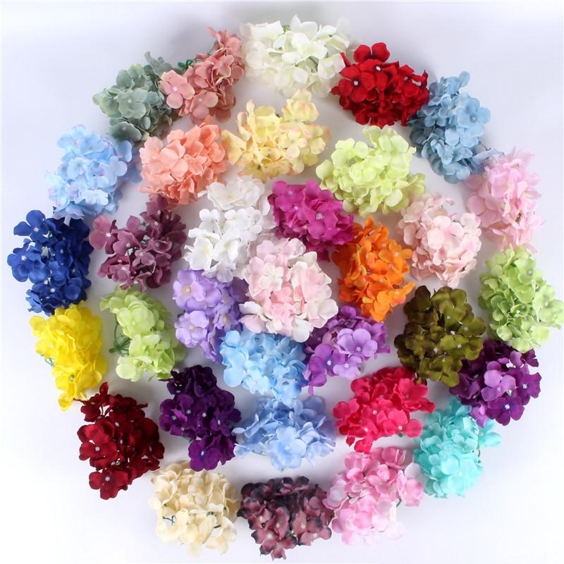 99pcs / lot De Luxe Artificielle Hydrangea Soie Fleur Incroyable Coloré Fleur Décorative Pour La Fête De Mariage Anniversaire Décoration De La Maison T8190626