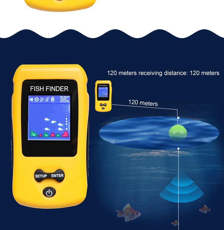 einfache verwendung Wiederaufladbare Wireless Remote Sonar Sensor 120 Mt wassertiefe High Definition LCD angeln fish finder 2019 beliebt