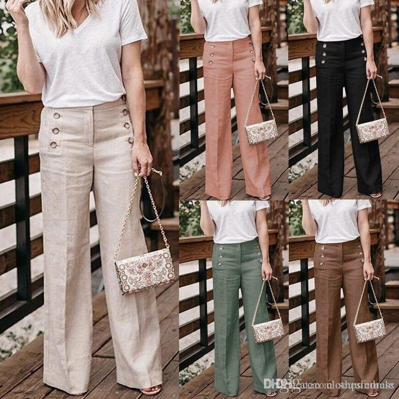 Womens Wide Leg Pants Solid Color High Waist Womens Casual Pants With Button Cotton And Linen Females Pants