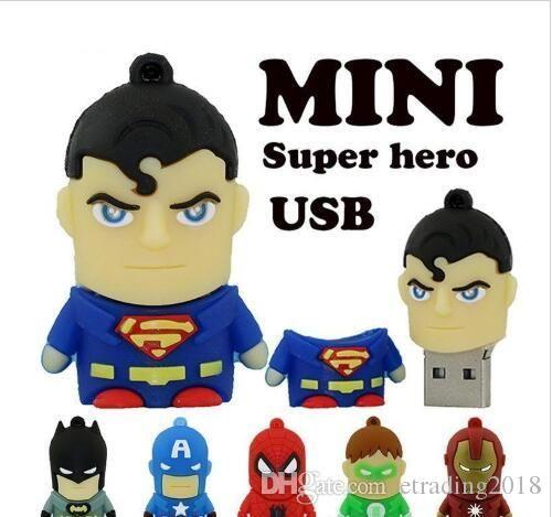 كارتون الأزياء بندريف يو القرص نقيب أمريكا سوبرمان سبايدرمان باتمان حملة القلم سوبر بطل 2GB 4GB 8GB 16GB USB فلاش حملة