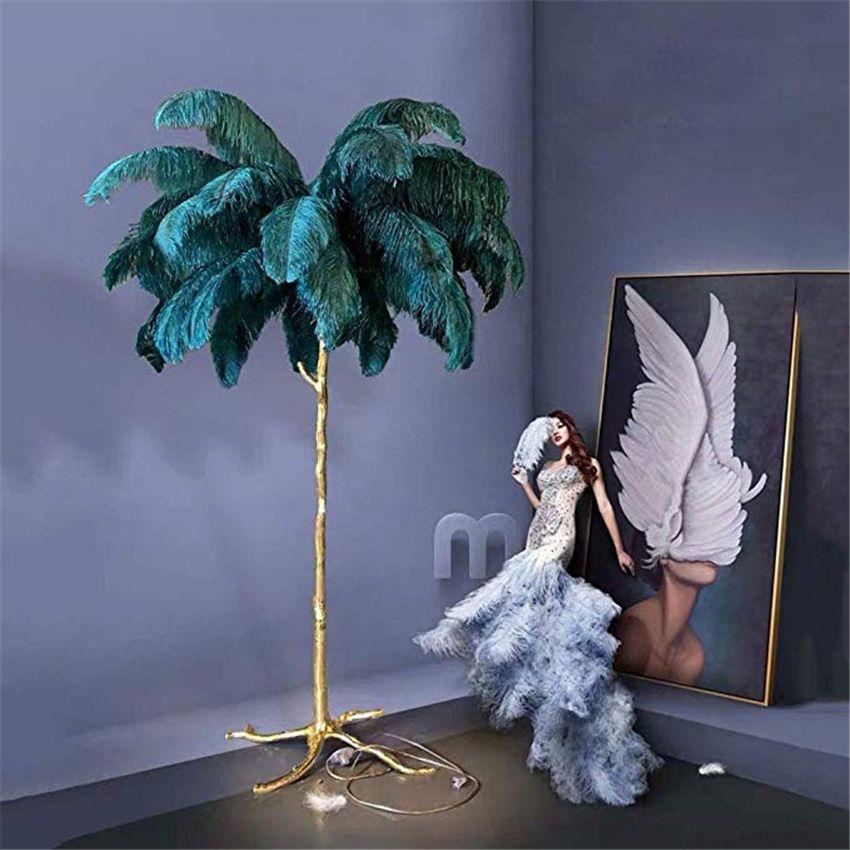 Stehleuchte Moderne Luxus-Baum-Niederlassung Strauß-Feder-Stehleuchte High-Grad-Ständer-leichte Bodenlampen für Wohnzimmer-Schlafzimmerlampe