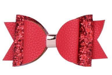 DHL Güzel Bow Saç Glitter Büyük Boyut 10.5cm Firkete Sevimli PU Deri Firkete modaya Kız Prens Saç Klip ilmek NT Klip
