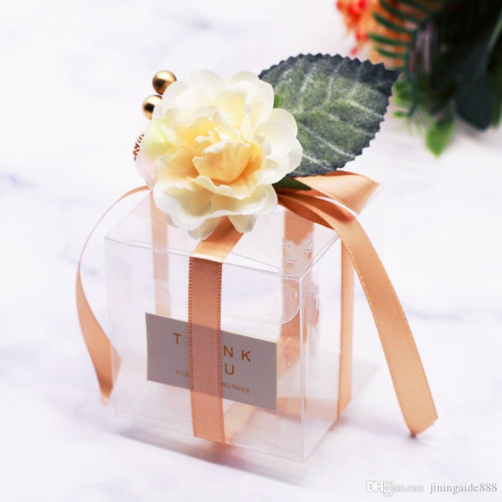 50PCS PVC 사탕 상자 장식 웨딩 그랜드 이벤트 축제 웨딩 캔디 박스 감사 선물 초콜릿 상자