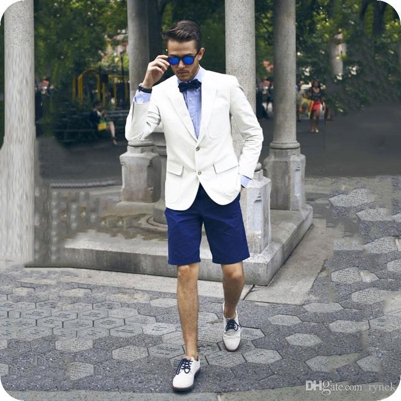 Casual Summer White Men Suits Groom Tuxedos Two Buttons 2Piece Groomsmen Suits Man Blazer Blue Short Pants Slim Fit Costume Homme Prom Party