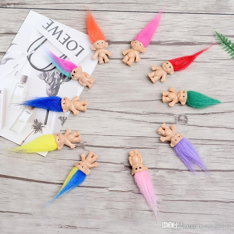 Bunte Haar Troll Puppe Familienmitglieder Daddy Mama Baby Jungen Mädchen Leprocauns Damm Trolls Spielzeug Geschenke Glückliche Liebesfamilie