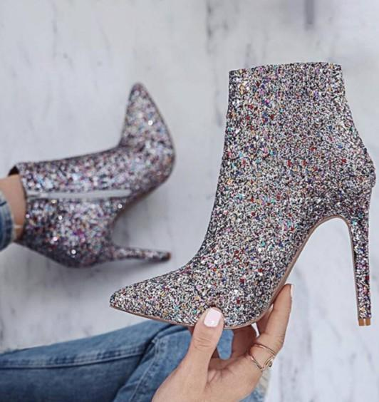 silver dress boots