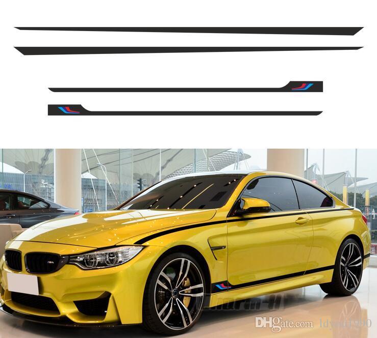 M Performance /// Sport Stripes Door Side Skirt Stickers Body Waist Line Decal For BMW F20 F22 F30 F45 F32 F07 F10 G30 F06 F12