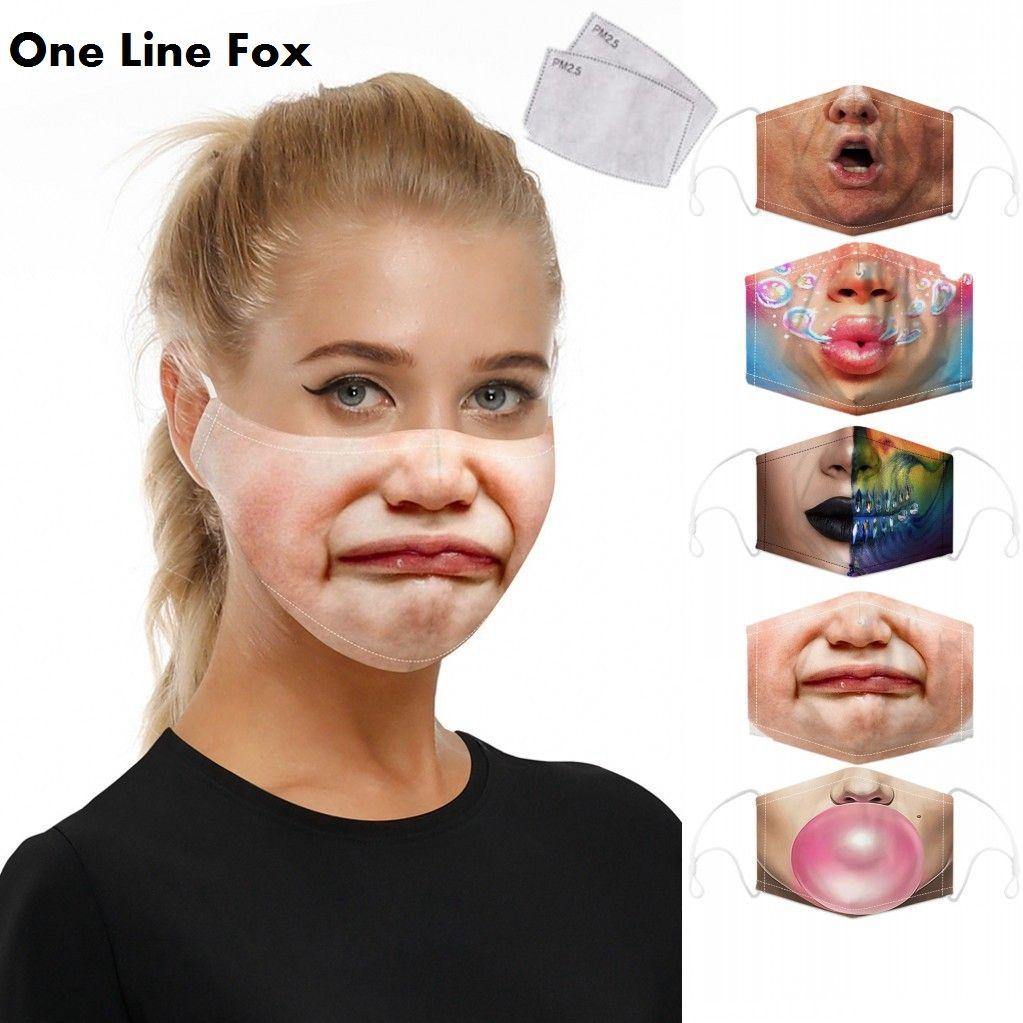 مضحك مكافحة الغبار الوجه أقنعة الفم قناع مضحك طبع الكبار للأطفال واقية قناع قابل للتعديل الأذن الفرقة مع 2 رقائق تصفية