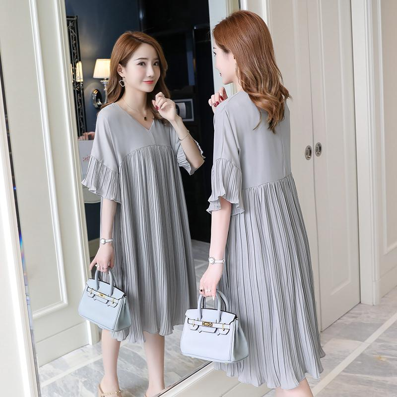 5305# 3xl V Neck Pleated Chiffon Maternity Dress 2019 Summer Korean Fashion Loose Clothes For Pregnant Women Pregnancy Clothing S200107