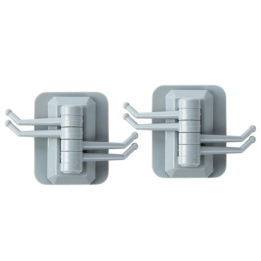 2Pcs/Set Plastic Hooks Self Adhesive No Drilling Swivel Storage Hooks Wall Hooks Towel Hangers for Bathroom Kitchen Living Room
