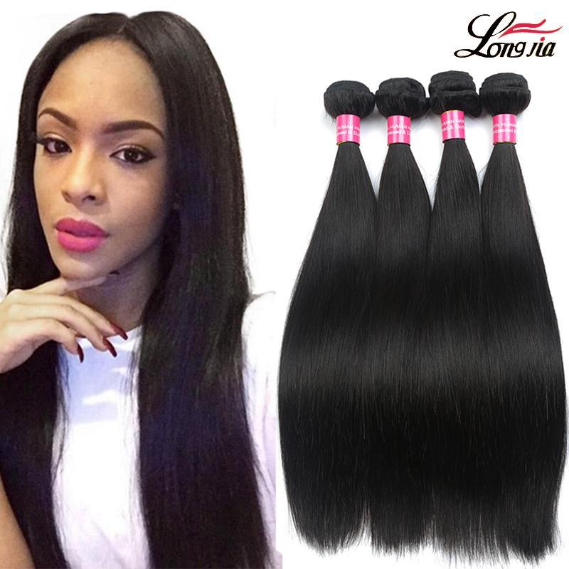 Бразилец девственница волос прямой 4 пучков бразильские волосы ткать пучки необработанных бразильских выдвижений волос прямых человеческих