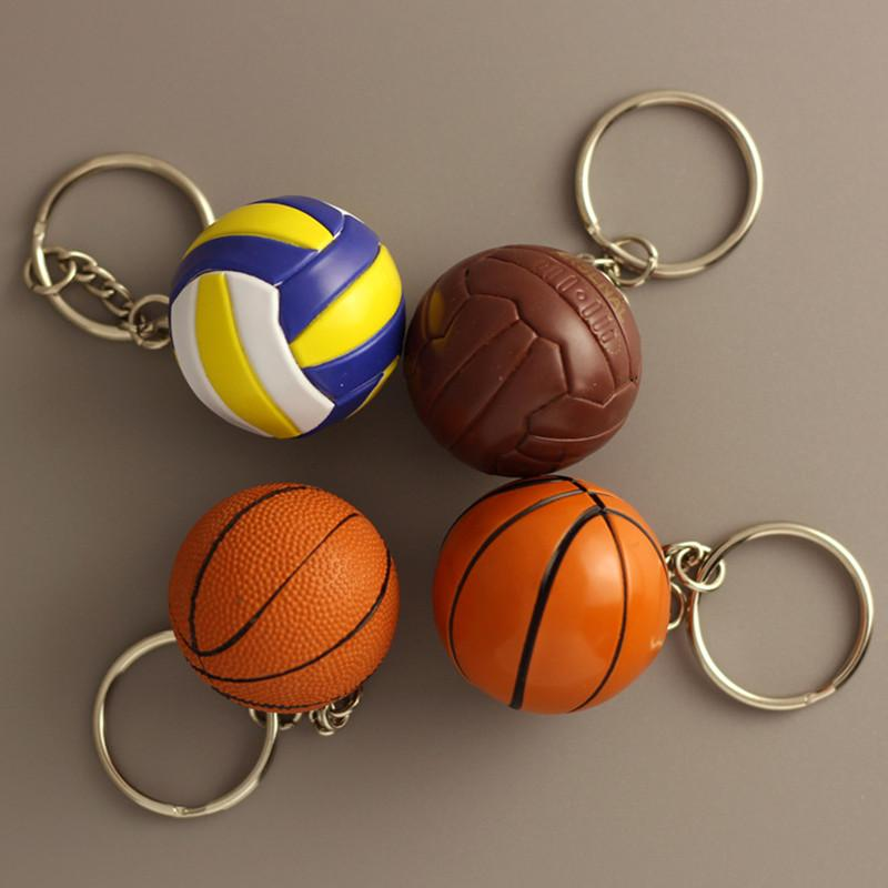 100pcs / lot neue PVC-Mini-Basketball-Schlüsselanhänger aus Kunststoff Volleyball Schlüsselanhänger für Geschenke