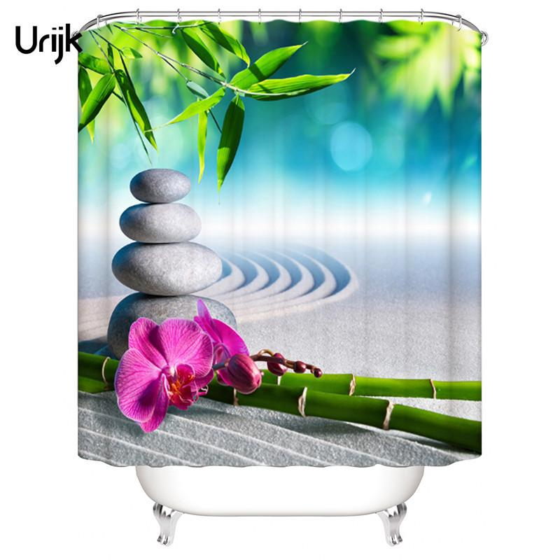 Urijk 1PC Waterproof 3D Shower Curtain for the Bathroom Stone Green Bamboos Printed Decoration Flower Bath Curtain Polyeater C18112201