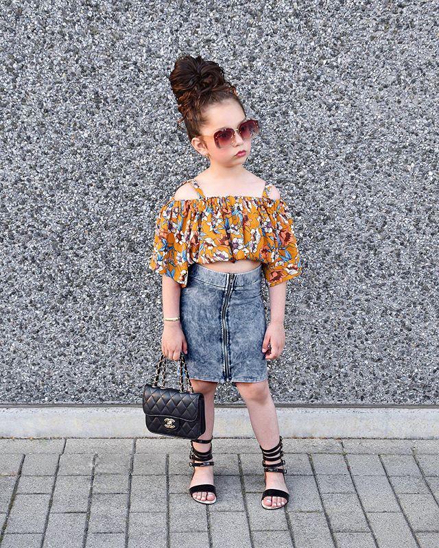 Девочка принцесса нарядов дети цветочный печататься росами плеча блузки + молния джинсовых юбок 2pcs комплекты 2020 лета новых детей одежда J2203