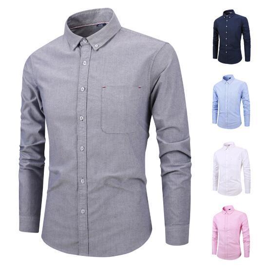 Compre Camisas De Vestir Para Hombre Nuevo Estilo Camisa De Mezcla De Algodón De Manga Larga Para Hombre Camisa Casual Para Hombre Sólida Slim Fit