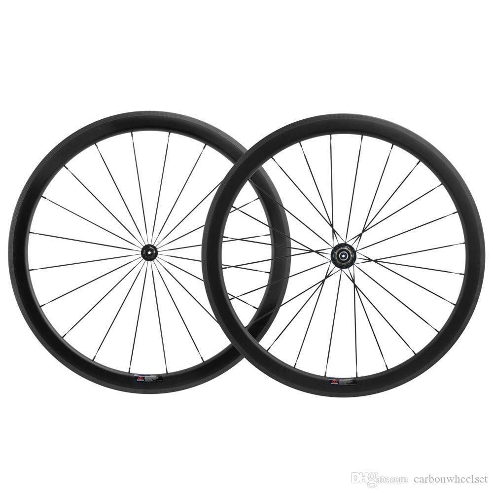 700C Clincher/Tubular 50mm Carbon Wheelset Road Bicycle With UD Matte Finish 23mm Width Black R11 Hub