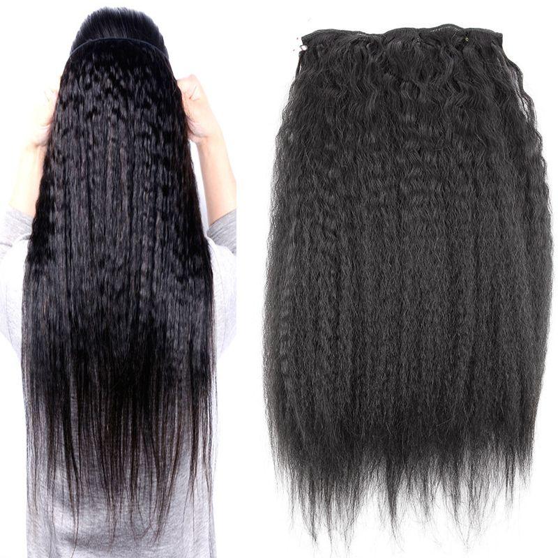 인간의 머리카락 확장에 클립 천연 브라질 레미 헤어 변태 스트레이트 클립 - 인 10pcs 인간의 머리카락 확장에 100G 굵은 구이 클립