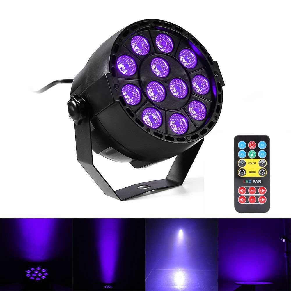 LED 36W UV Stage Light Active Sound 12 LED Auto DMX ultraviolets Strobe Par Noir Lumières Disco lumière DJ Party projecteur