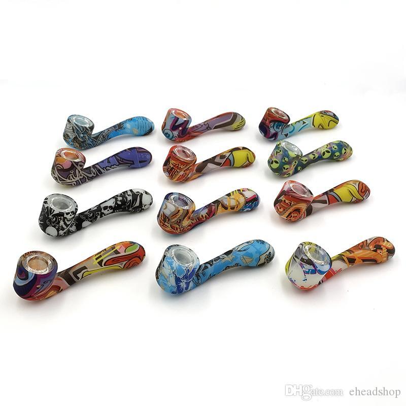 Glühen Sie in den dunklen Silikonrohren für Tabak-Trockenkräuter mit versteckten Glasschüsselstück Tragbaren Löffel-Form Handrohrbong Unzerbrechlich leuchtend