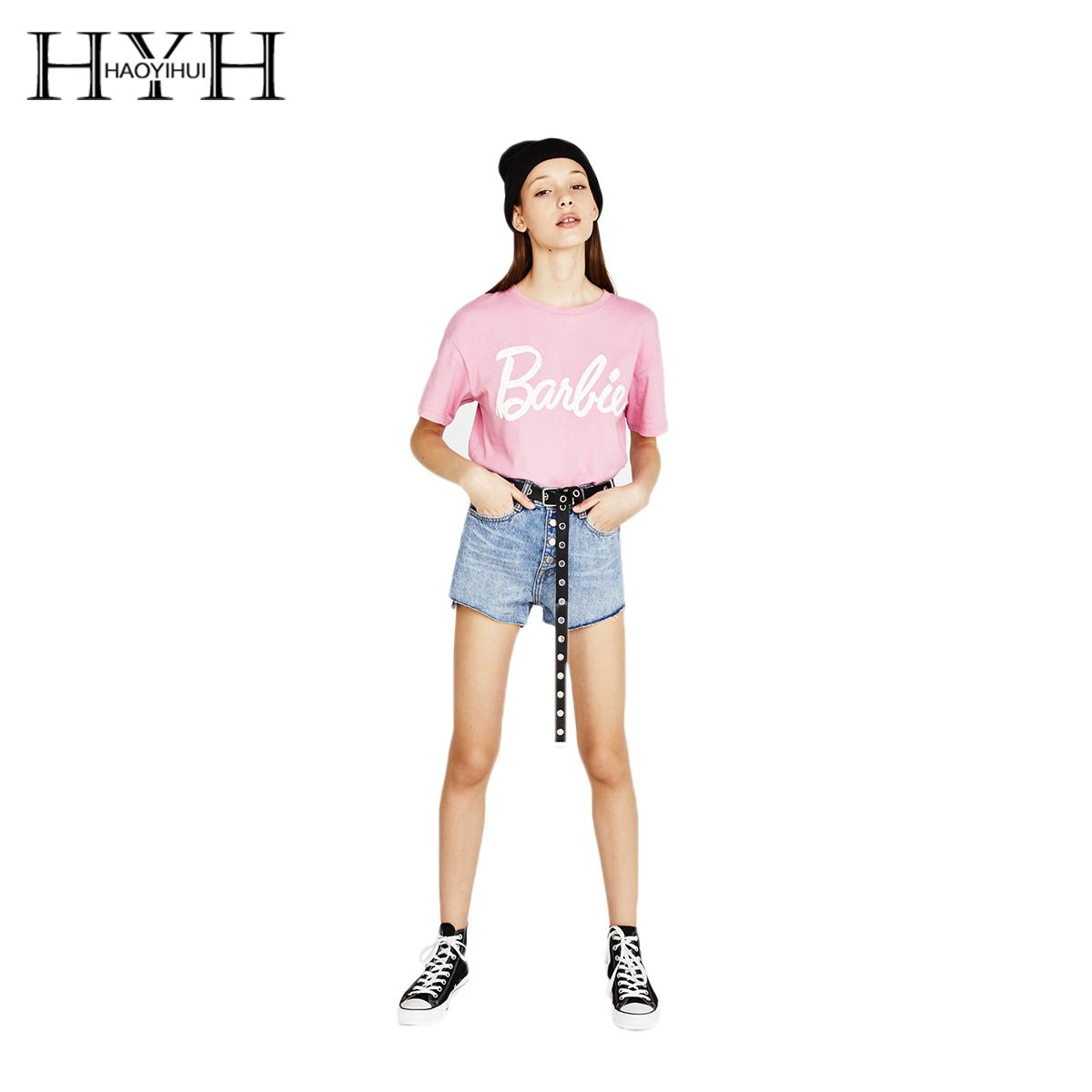 Hyh Haoyihui 새로운 패션 2018 여성 라이트 핑크 캐주얼 달콤한 티셔츠 문자 인쇄 짧은 소매 티셔츠 여성 O - 넥 탑 Y19060601