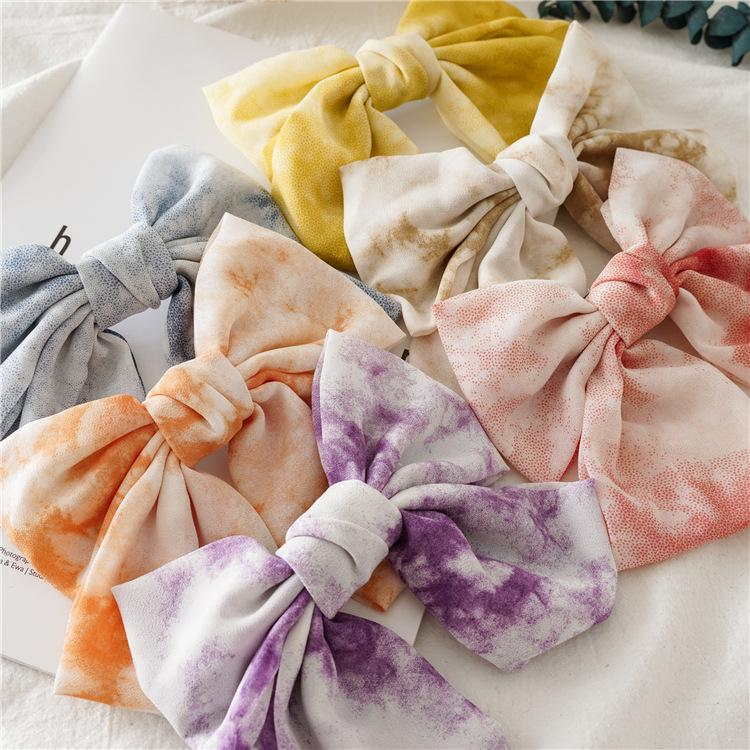 Tie Dye Washed Colored Headwraps Women Girl Bohemian Bow Knotted Turban big girl hair clips Festival Beach