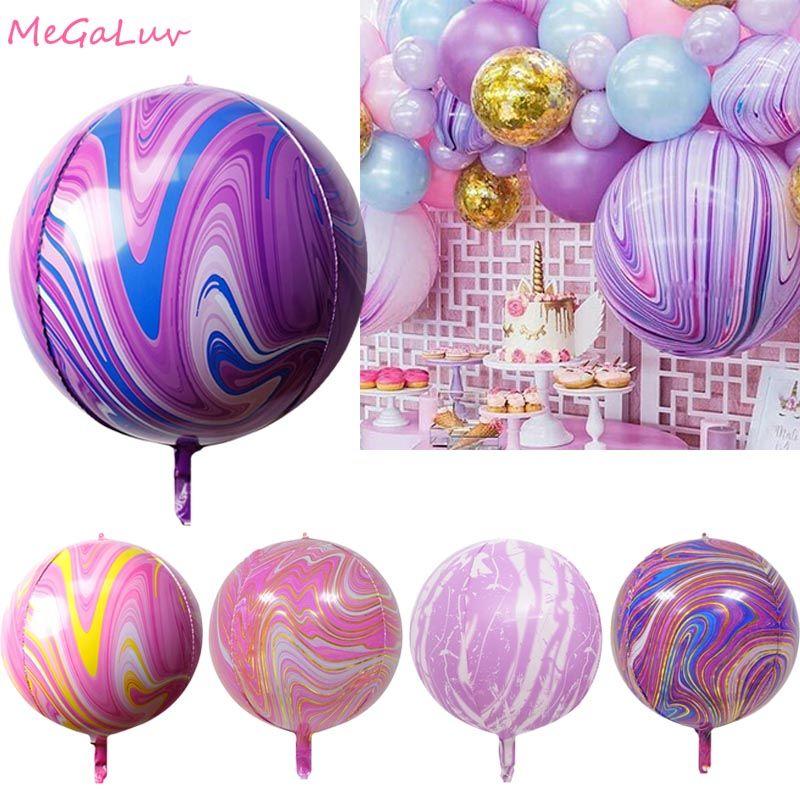 22 İnç 4D Akik Balonlar Boyama Mermer Topu Renkli Bulut Lateks Balon Düğün Yılbaşı Dekoru Bebek Doğum Günü Partisi Globos