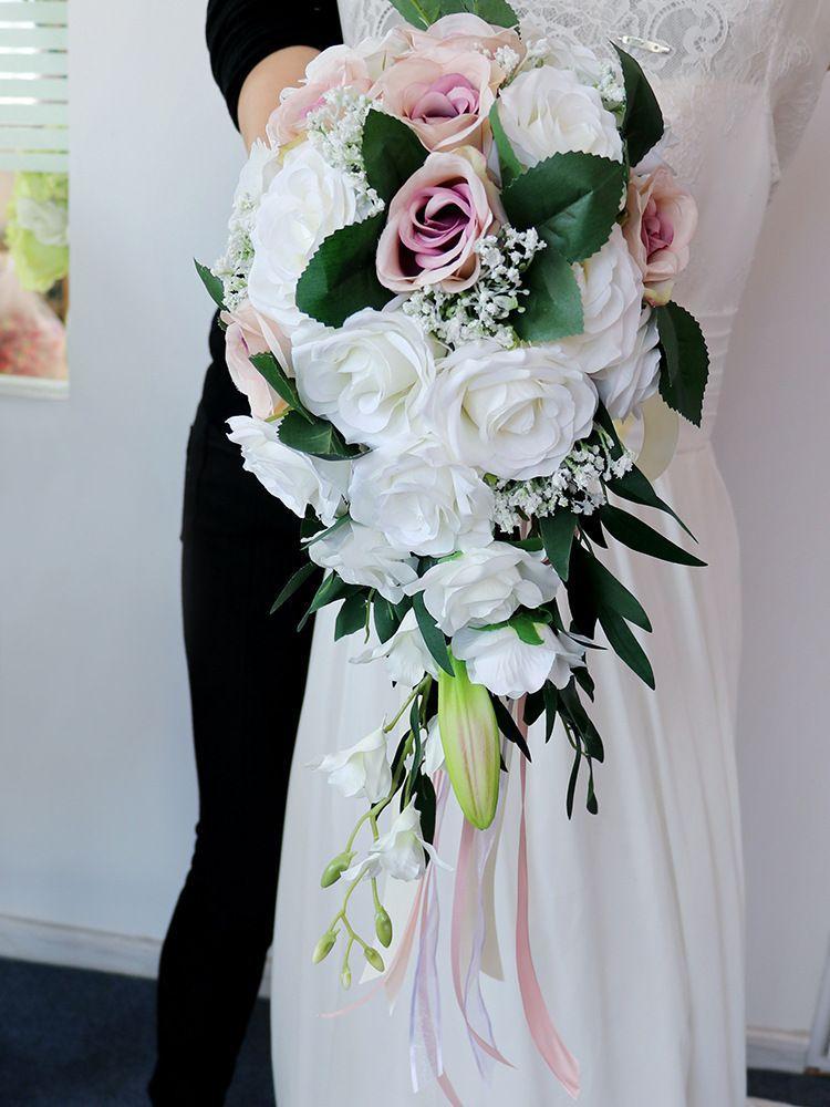 2020 Bouquets de mariée en cristal artificielle Cristal Cascade Ivoire Mariage Mariage Mariage Fleur Rouge Broche à la main Broche Bouquet de Mariage
