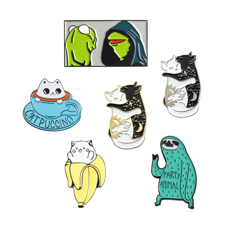 Frog Sloth Cat Enamel Pin Cartoon Cute Animal Brooch Collection Metal Lapel Pin Badge Brooches for Women Men Jewelry Gifts