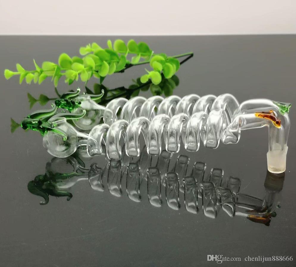 Multi-espiral flexão pote com cor torneira vidro Bongos de vidro cachimbo de água Rig Pipes Oil Gravar vidro Bowls Oil