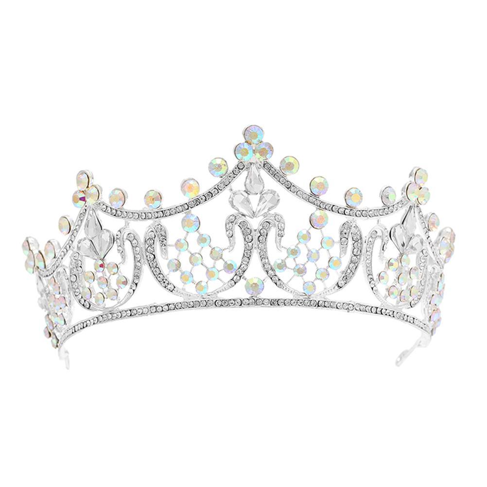 Crystal Crown Alloy Hair Hoop Bridal Wedding Headdress Hair Band for Bride Bridesmaid (Silver)