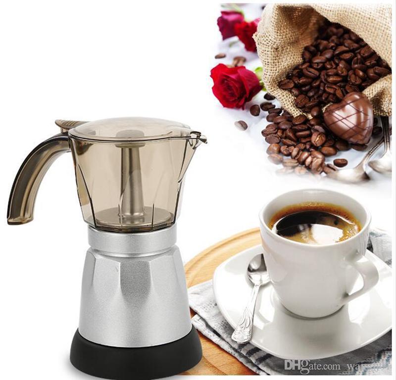 6cups / 300ml de café eléctrica produtora de alumínio material Coffee Pots Moka Pot Mocha café Máquina V60 Filtro de café Máquina de Fazer Café