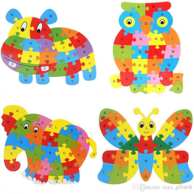 Cute Animal Alphabet puzzle Giovani precoce educazione dell'infanzia puzzle di cartone animato animale bordo giocattolo di puzzle puzzle di legno 26 lettera