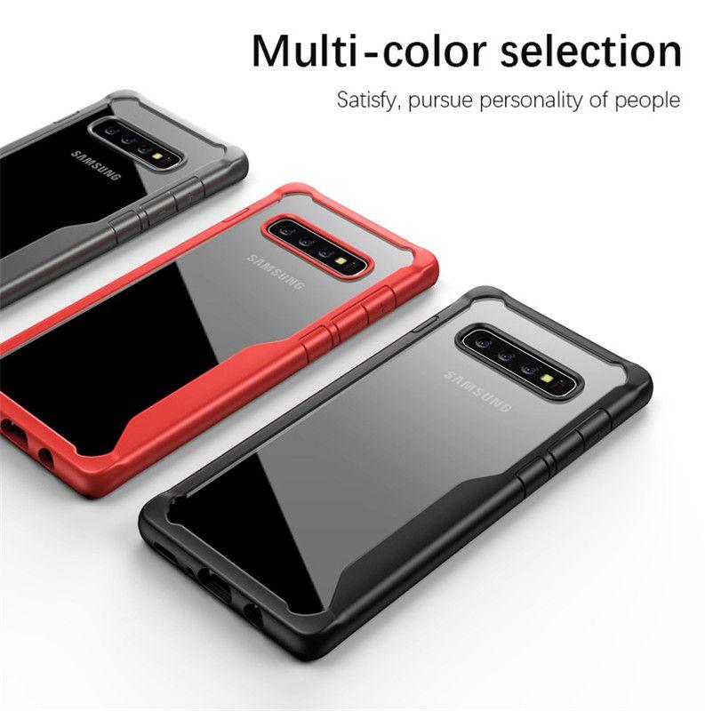 Pour Samsung S10, plus hybride étui souple TPU Bumper PC transparent couverture arrière Cas de téléphone pour Samsung Galaxy Lite S10 S10