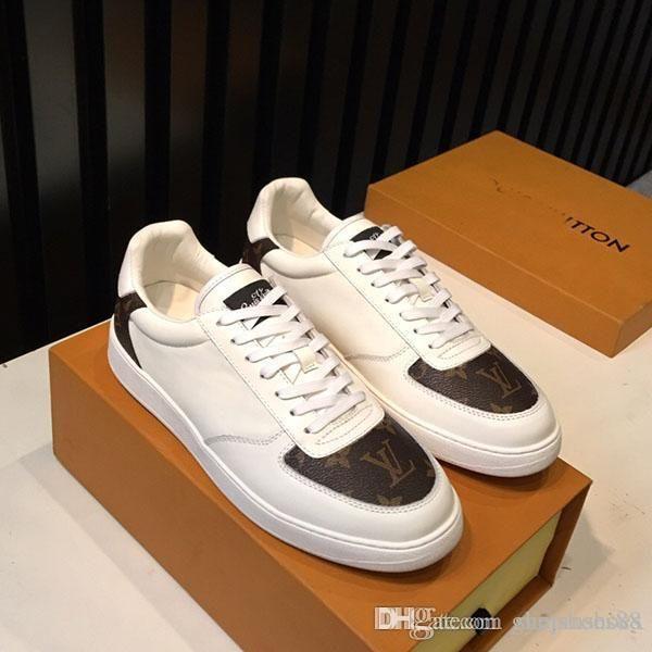 Top qualidade sapatos de moda masculina de tênis Designer Luxo baixa ajuda sapatos casuais couro Impresso confortável clássicos sapatos desportivos Shipp gratuito