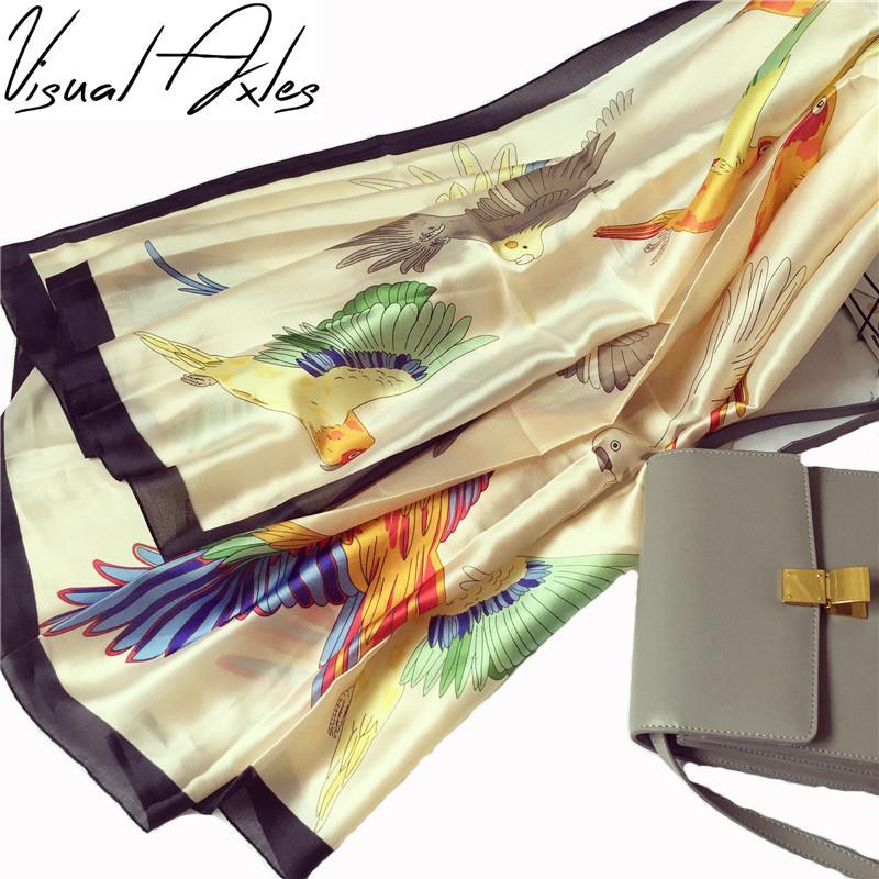 оптовый птица шелковый шарф Мода Женщина Мягкий Foulard Павлин Турецкая Природный саржевый шелк Платки шарфы