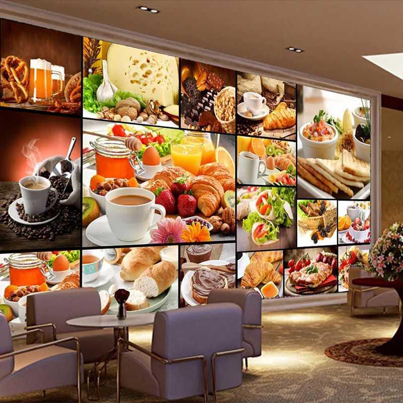 Drop Shipping пользовательские настенные обои европейский стиль выпечки молоко десерт магазин кафе фон декор плакат фото для стен 3D