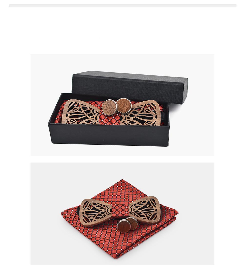Yeni Varış Ayarlanabilen El Yapımı Ahşap Papyon Seti Ve Mendil Geometrik Papyon Eşarp Kol Düğmesi Kutusu Set Erkekler Için Noel Hediyeleri